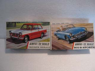Airfix Model Kit - Triumph Herald Airfix 1/32 Scale and MGB Sports Airfix 1/32 Scale