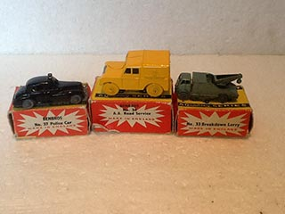 Benbros Toys No 33 Breakdown Lorry, No 34 A.A. Land Rover, No 37 Wolseley Six-Eighty Police Car