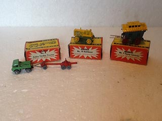 Benbros Toys No 5 Horse Drawn Gipsy Caravan, No 8 Foden Tractor and Log Trailer, No 10 Crawler Bulldozer