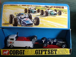 Corgi Gift Set No 6 Volkswagen Truck with Trailer and Cooper - Maserati F/1