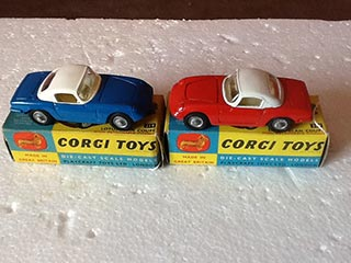 Corgi Toys 319 Lotus Elan S2 Hardtop Blue Body, White Top. Red Body, White Roof.