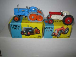 Corgi Toys No 50 Massey Ferguson 65 Tractor and Corgi Toys No 54 Fordson Power Major Tractor