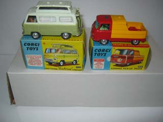 Corgi Toys 420 Ford Thames Airborne Caravan Pale Green Top, Olive Green Bottom and Corgi Toys 465 Commer Pick-up Truck
