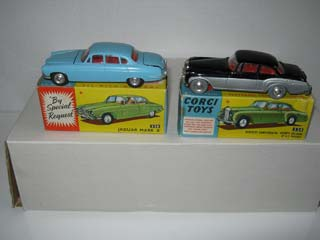 Corgi Toys 238 Jaguar MK 10 Pale Blue Body, Red Interior and Corgi Toys 224 Bentley Continental Sports Saloon Black and Silver Body, Red Interior