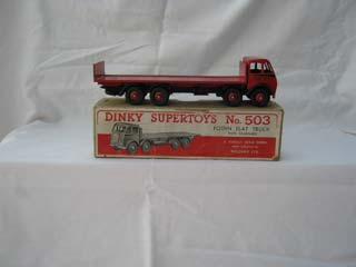 Dinky Super Toys 503 Foden Flat Truck With Tail Board 1st Type Cab, Red Cab and Flatbed, Black Flash and Chassis