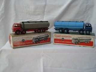 Dinky Super Toys 504 Foden 14-Ton Tanker 1st Type Cab, Red Cab and Chassis, Silver Flash, Fawn Body and Dinky Super Toys 504 Foden 14-Ton Tanker 1st Type Cab, Blue Cab and Chassis, Blue Flash, Light Blue Body
