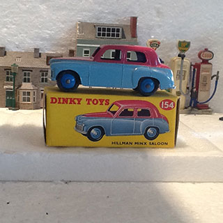 Dinky Toys 154 Hillman Minx Saloon, Pale Blue Lower Body and Hubs, Cerise Upper Body