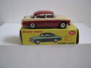 Dinky Toys 165 Humber Hawk Maroon Lower Body and Roof, Cream Upper Body