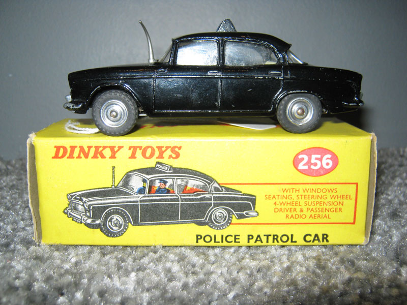 Dinky Toys 256 Humber Hawk Patrol Car, Black Body, Cream Interior White Police Sign on Roof PC 49 Licence Plates, Driver & Observer, Spun Hubs