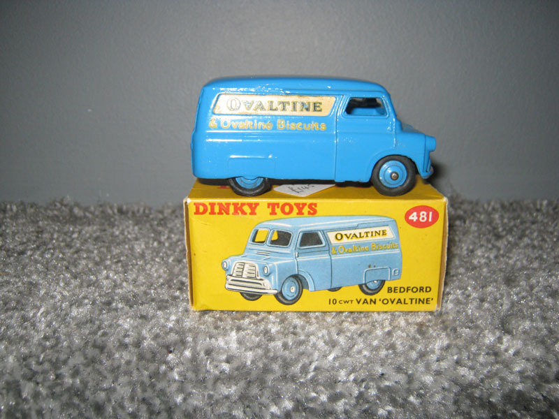 Dinky Toys 481 Bedford CA Van Ovaltine Blue Body with Ovaltine and Ovaltine Biscuits Logo on Cream Panel and Sides
