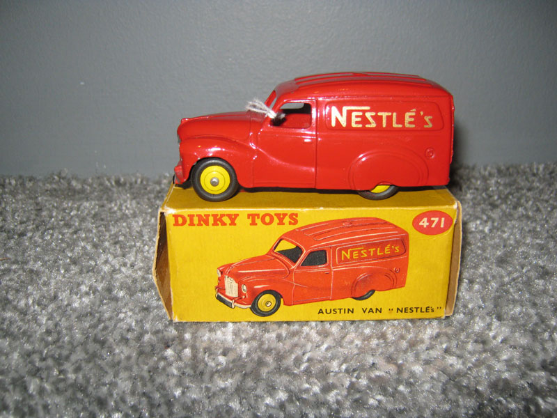 Dinky Toys 471 Austin A40 Van Nestles Dark Red Body, Yellow Hubs