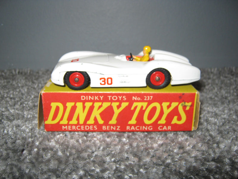 Dinky Toys 237 Mercedes Benz Racing Car, White Body, Red Interior, Yellow Driver No 30