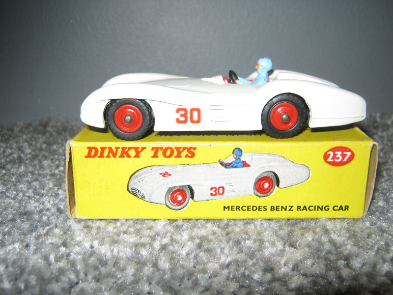 Dinky Toys 237 Mercedes Benz Racing Car, White Body, Red Interior, Blue Driver