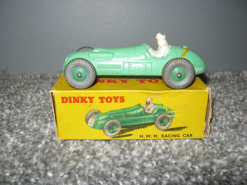 Dinky Toys 235 H.W.M. Racing Car, Pale Green Body Yellow R/N 7, Green Cast Hubs