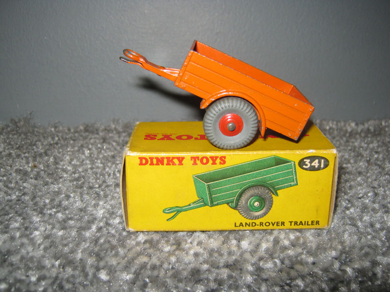 Dinky Toys 341 Land Rover Trailer, Orange Body Red Hubs