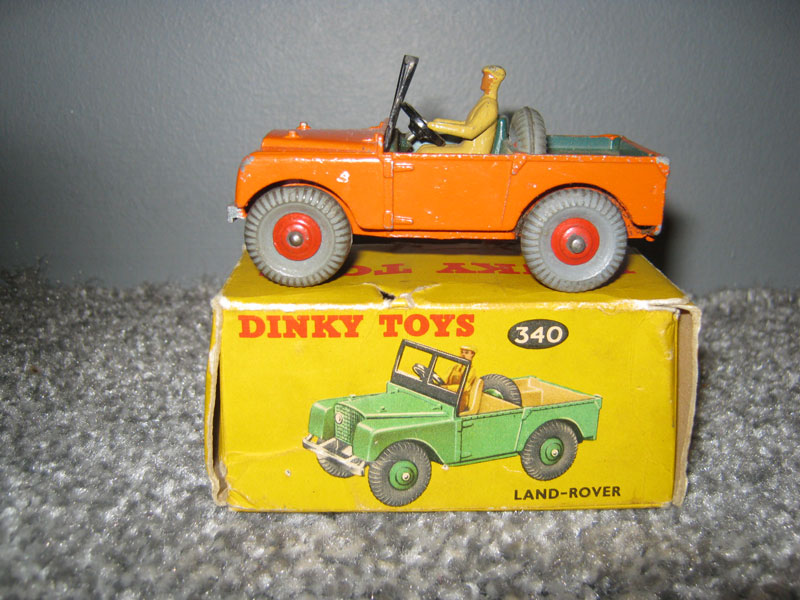 Dinky Toys 340 Land Rover, Orange Body, Dark Green Interior, Tan Cast Driver, Red Hubs
