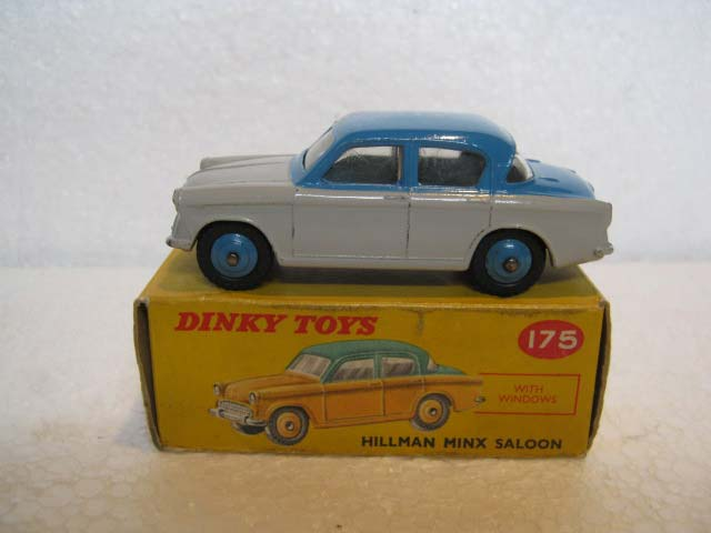 Dinky Toys 175 Hillman Minx Grey Lower Body, Mid Blue Upper Body