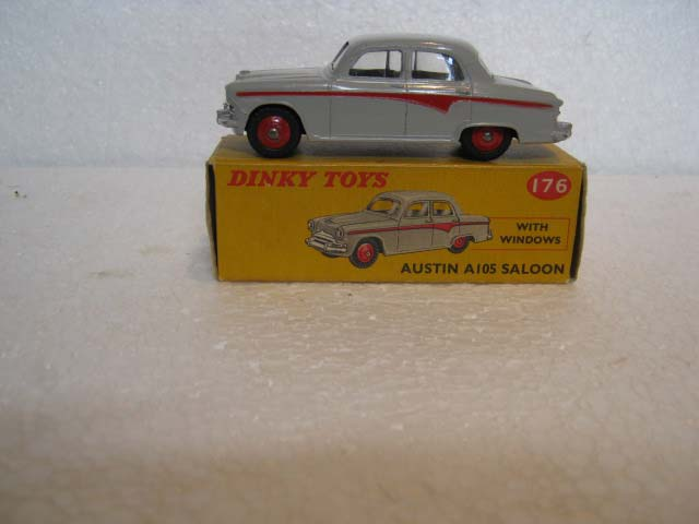 Dinky Toys 176 Austin A105 Saloon Pale Grey Body, Red Line and Red Hubs