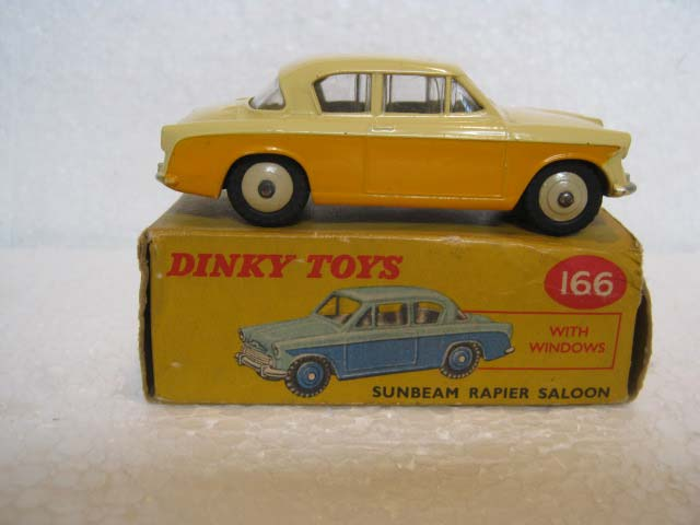 Dinky Toys 166 Sunbeam Rapier Saloon Yellow Lower Body, Deep Cream Upper Body, Beige Hubs