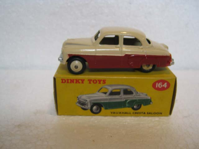 Dinky Toys 164 Vauxhall Cresta Saloon Maroon Lower Body, Cream Upper Body, Cream Hubs