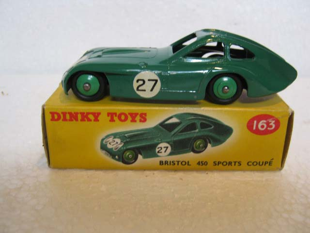 Dinky Toys 163 Bristol 450 Sports Coupe British Racing Green Body, Green Hubs, Racing Number 27