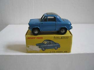French Dinky 24L Vespa 400 2CV Blue Body, Grey Interior