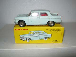 French Dinky 553 Peugeot 404 Pale Blue Body, Red Interior