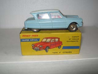 French Dinky 557 Citroen Ami 6 Light Blue Body, Grey Roof