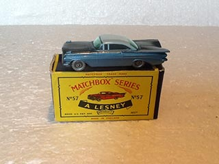 Matchbox Series 1-75 No 57 Chevrolet Impala Metallic Blue Body, Pale Blue Roof