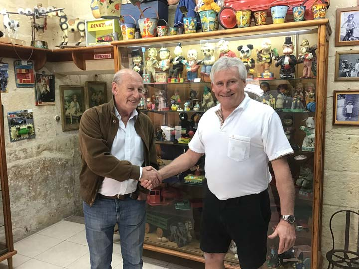 Grant's Trip to Malta Toy Museum - Grant Woolley shaking hands with Vincent Brown