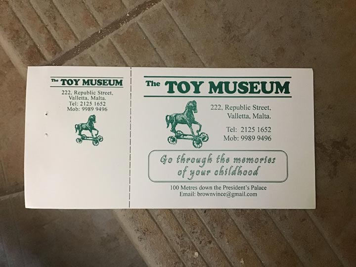 Grant's Trip to Malta Toy Museum - Ticket Details