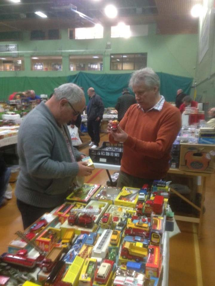 Grant and Paul looking at Toys at a Fayre